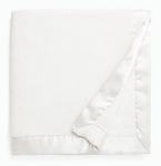 White Satin Trimmed Plush Blanket