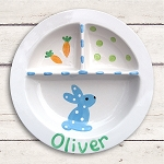 Personalized Blue Bunny Baby Plate