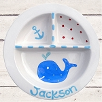 Personalized Blue Whale Baby Plate