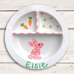 Personalized Pink Bunny Baby Plate