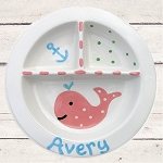 Personalized Pink Whale Baby Plate