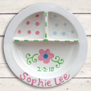 personalized ceramic plate - flowers